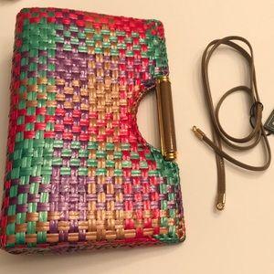 Rodo Italian woven cane purse
